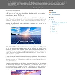 3 Effective Ways in which Solar Lead Generation can accelerate your Business