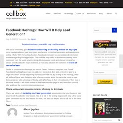 Facebook Hashtags: How Will It Help Lead Generation?