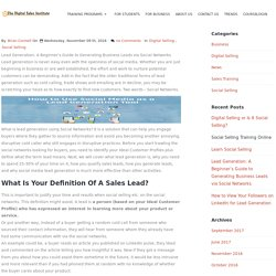 Lead Generation: A Beginner's Guide to Generating Business Leads via Social Networks
