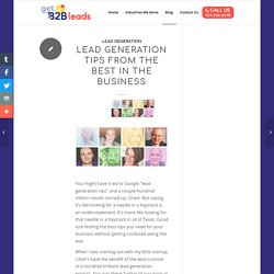 Lead Generation Tips from the Best in the Business - GetB2B Leads