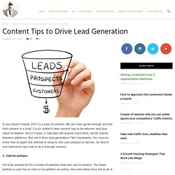 Content Tips to Drive Lead Generation - Ade Camilleri Marketing News