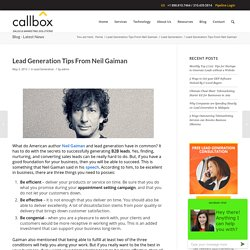 Lead Generation Tips From Neil Gaiman - B2B Lead Generation Company Malaysia