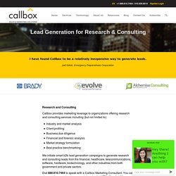 Lead Generation for Research and Consulting Companies - Research and Consulting Leads