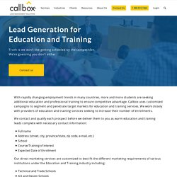 Lead Generation for Education and Training Industry - Callbox