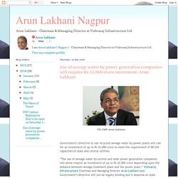 Arun Lakhani Nagpur: Use of sewage water by power generation companies will require Rs 32,000 crore investment: Arun Lakhani