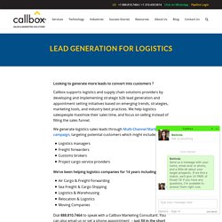 Lead Generation for Logistics Industry - Callbox