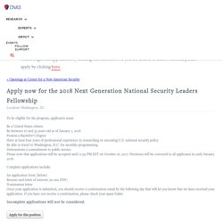 Apply now for the 2018 Next Generation National Security Leaders Fellowship - Center for a New American Security