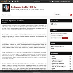 Jeu de rôle et génération procédurale - La taverne Au Bon Rôliste
