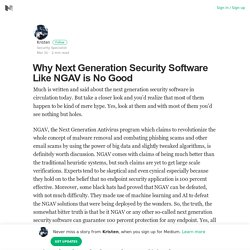 Why Next Generation Security Software Like NGAV is No Good