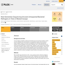 PLOS 27/11/13 Next Generation Sequencing Uncovers Unexpected Bacterial Pathogens in Ticks in Western Europe