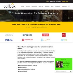 Sales Lead Generation for Software Products