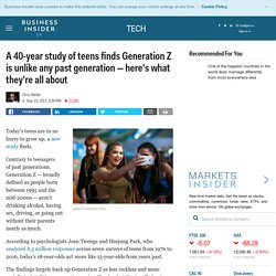 A 40-year study of teens finds Generation Z is unlike any past generation — here's what they're all about