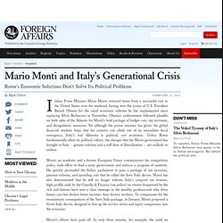 Mario Monti and Italy's Generational Crisis