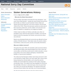 Stolen Generations History - National Sorry Day Committee