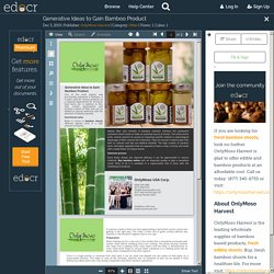 Generative Ideas to Gain Bamboo Product