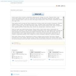 Lorem Ipsum Generator » Lorem Ipsum generated in paragraphs
