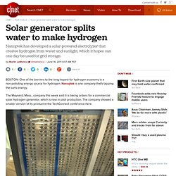 Solar generator splits water to make hydrogen