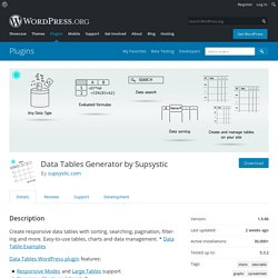 Data Tables Generator by Supsystic – WordPress plugin