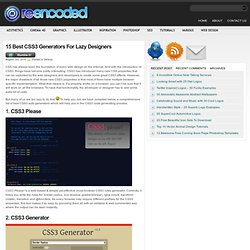 15 Best CSS3 Generators For Lazy Designers