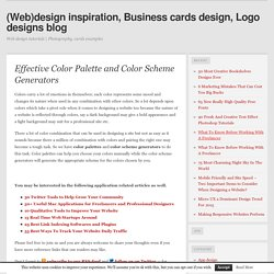Effective Color Palette and Color Scheme Generators