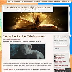 Self-Published Authors Helping Other Authors