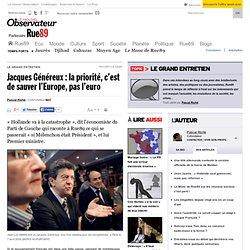 Jacques Généreux: la priorité, c'est de sauver l'Europe, pas l'euro