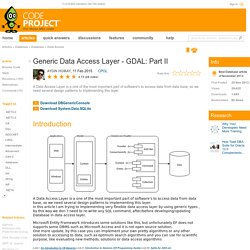 Generic Data Access Layer - GDAL: Part II