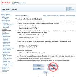 Generics, Inheritance, and Subtypes (The Java™ Tutorials > Learning the Java Language > Generics (Updated))