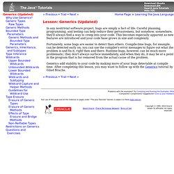 Lesson: Generics (Updated) (The Java™ Tutorials > Learning the Java Language)