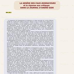 La genèse des Faux-Monnayeurs: des extraits significatifs du Journal