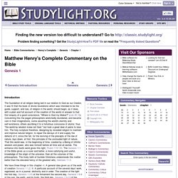 Genesis 1 Commentary - Matthew Henry's Complete Commentary on the Bible