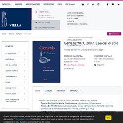 Genesis. VI/1, 2007. Esercizi di stile - Viella
