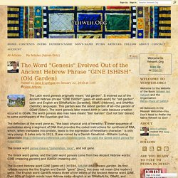 """The Word """"Genesis"""" Garden of ISIS - Evolved Out of the Ancient Hebrew Phrase """"GINE ISHISH"""" Old Garden"""