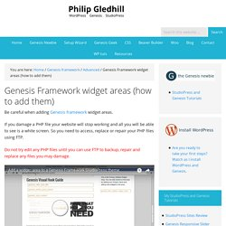 Genesis Framework widget areas (how to add them)