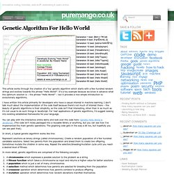 Genetic Algorithm For Hello World « puremango.co.uk