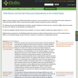 DNA Banks and Genetic Resources Repositories in the United States