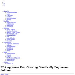 CSPI 19/11/15 FDA Approves Fast-Growing Genetically Engineered Salmon
