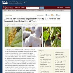 ERS USDA 04/03/14 Adoption of Genetically Engineered Crops by U.S. Farmers Has Increased Steadily for Over 15 Years