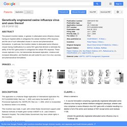 Patent US8124101 - Genetically engineered swine influenza virus and uses thereof - Google Patents