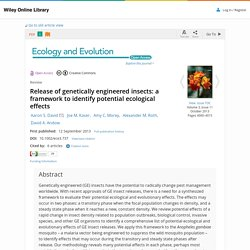 ECOLOGY AND EVOLUTION 12/09/13 Release of genetically engineered insects: a framework to identify potential ecological effects