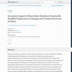 SUGAR TECH 26/03/16 Economic Impact of Stem Borer-Resistant Genetically Modified Sugarcane in Guangxi and Yunnan Provinces of China