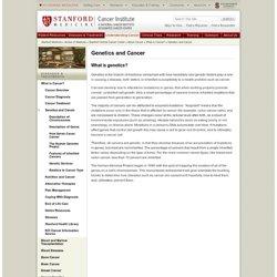 Genetics and Cancer - Information About Cancer - Stanford Cancer Center - Stanford Medicine