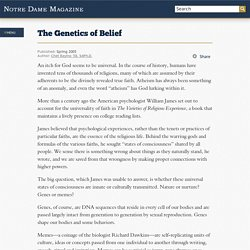 The Genetics of Belief // News // Notre Dame Magazine // University of Notre Dame