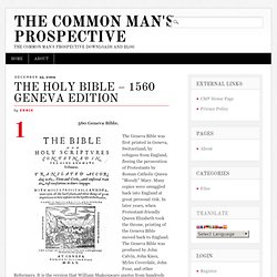 The Holy Bible – 1560 Geneva Edition
