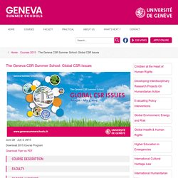 The Geneva CSR Summer School: Global CSR Issues - Geneva Summer Schools - University of Geneva