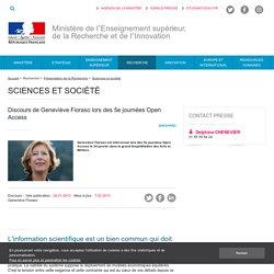 Discours de Geneviève Fioraso lors des 5e journées Open Access