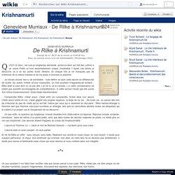 Geneviève Murriaux - De Rilke à Krishnamurti - Wiki Krishnamurti