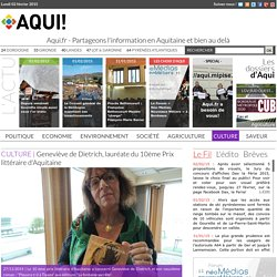 Geneviève de Dietrich, lauréate du 10ème Prix littéraire d'Aquitaine