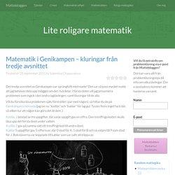 Matematik i Genikampen – kluringar från tredje avsnittet - Mattebloggen