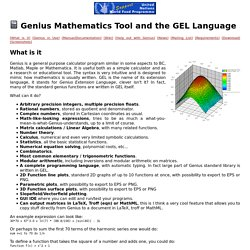 Genius Mathematics Tool and the GEL Language